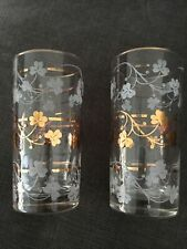 2 Vintage Elegant Frosted & Gold Shamrock Design Highball Whiskey Glasses Vguc