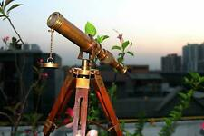 "Vintage Brass Telescope Maritime 10"" Telescope With Wooden Tripod Stand Gift"