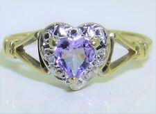 9CT DIAMOND  AMETHYST HEART CLUSTER RING 9 CARAT YELLOW GOLD SIZE P