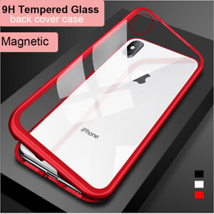 APPLE iPhone 11 Pro Max XS XR X 8 Plus Magnetic Case Metal Frame Tempered Glass