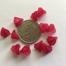 50 pcs Dainty Small Frosted Deep Magenta Pink Trumpet Flower Acrylic Beads