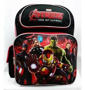 "NWT Avengers 16"" Large Backpack School Bag Hulk, Ironman, Thor, Captain America"