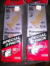 Four (4) New Panasonic HG 90 min SLP TC-30 VHS C Blank Cassette Tapes Camcorder