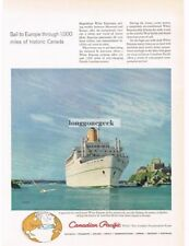 1959 CANADIAN PACIFIC White Empresss Ocean Liner Vintage Ad