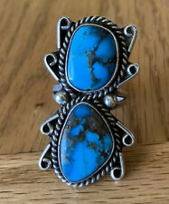 Vintage Navajo Sterling Silver Two-Stone Bisbee Turquoise Ring - Size 7 1/2