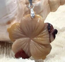 Gemstone Hawaiian Hibiscus Mookaite Flower Necklace Silver Chain
