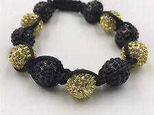 12mm Shamballa Beaded Adjustable Bracelet Genuine Black/Yellow Hand Set Crystals