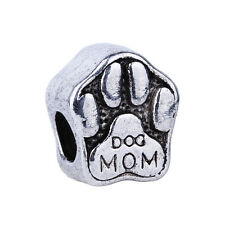 2pcs Silver Mom Dog Paw prints Big Hole Charms Beads Fit European Bracelets