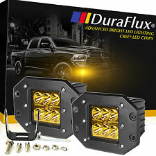 DuraFlux 60W CREE LED Cube Pods Yellow Work Fog Light Flush Mount Jeep Truck ATV
