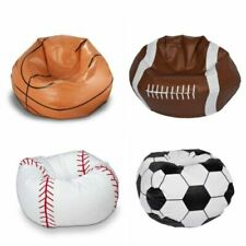 Sports Vinyl Bean Bag Chair Soccer Baseball Basketball Football Kids Teen Gaming