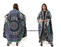 Women's Elephant Print Loose Shawl Kimono Blouse Long Cardigan Coat Jacket India