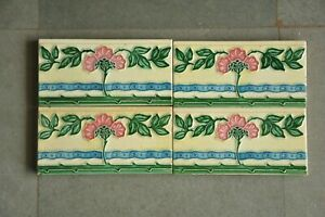 4 Pc Vintage Majolica Floral Vine Embossed M.S Mark Colorful Ceramic Tiles,Japan