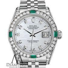Women's Rolex Datejust 36mm Steel White MOP Emerald Diamond Watch With A Track