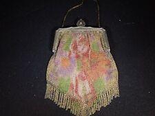 Vintage Whiting & Davis Fine Mesh Floral Fringed Evening Bag / Purse - Marked