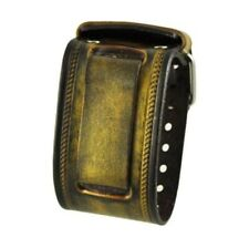 Nemesis Gold Tone Wide XL Leather Cuff Watch Band 24mm