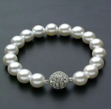 Genuine White 12mm South Sea Round Shell Pearl Bracelet 7.5''
