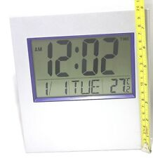 20 Large Digital LCD Clock Silver Alarm Date Temperature Office Home Desk Wall