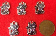 5 Funky & Loveable Enamel Rhinestone Black Shiny/Glittering Cat Charms Pendants