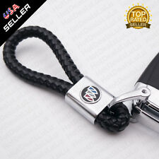 Black Calf Leather Alloy Buick Logo Emblem Keychain Decoration Gift Accessories
