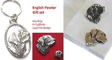 Labrador Cane, gemelli, Portachiavi & bavero pin badge in peltro inglese Set Regalo