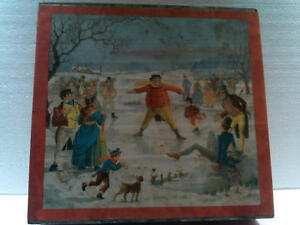Antique Biscuit Cookie Tin WinterScene Paper Label Red Frears circa 1956 England