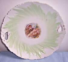 Antique Victorian Cherubs Putti Embossed Porcelain green Cake Plate Platter