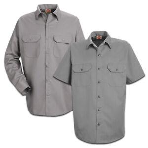 Red Kap Men's Utility Work Shirt 2 Pocket Solid Color Durable Industrial Uniform