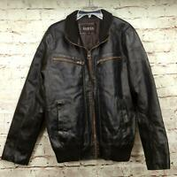 Guess Men's Designer Bomber Jacket Size M Faux Leather Zip Front Black Brown
