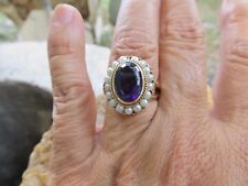 Gorgeous Victorian 14k Gold Amethyst & Seed Pearl Ring ESTATE
