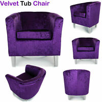 Crushed Velvet Tub Chair Sofa With Solid Beech Metal Legs Fabric Armchair Purple