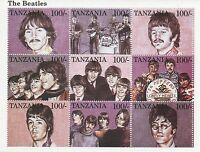 THE BEATLES JOHN LENNON PAUL MCCARTNEY TANZANIA STAMP SHEET MINT
