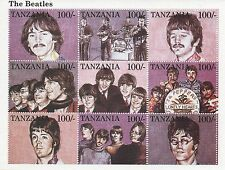 THE BEATLES JOHN LENNON PAUL MCCARTNEY TANZANIA STAMP SHEET MINT