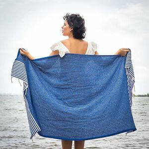 Extra Large 100%Turkish Cotton Beach Bath Pool Gym Spa Towel 72''X39'' blue