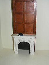Casa De Muñecas Muebles De Madera Fuego Envolvente & con paneles de chimenea de la mama y Libros