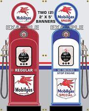 GAS PUMP SET MOBILGAS BANNER GAS STATION SHOP GARAGE DISPLAY SIGN ART 2- 2' X 5'