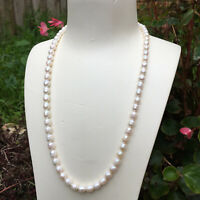 161#Freshwater 7~8mm natural Baroque drop white pearl necklace 55cmlength AB