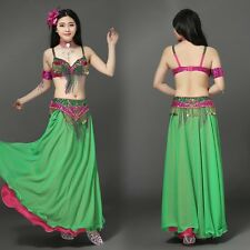 Belly Dance Costume Outfit Set Bra Top Belt Hip Scarf Skirt Bollywood 3PCS