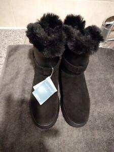 Womens Geox Respira Amphibiox black Suede Boots Size Uk 5 Eu 38 new