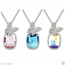 Crystal White Gold Plated Oval Costume Necklaces & Pendants