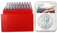 2021 1oz Silver Eagle NGC MS69 - Early Releases - Flag Label - 10 Pack w/Case