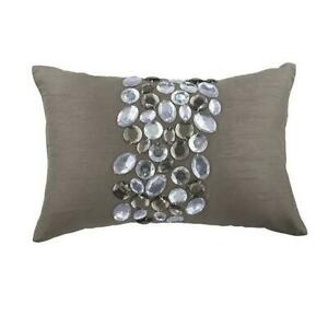 Crystals 12x18 inch Art Silk Grey Lumbar Oblong Pillow Cover - Crystal Delight