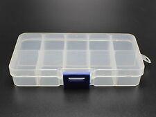 Clear Plastic Box Case 10 compartments Beads Display Storage Container 130X67mm
