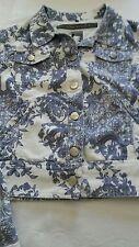 Ladies Silvian Heach Floral Denim Jacket White/Blue M 14 NWT