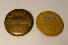 2 Vintage Pennsylvania Resident Fishing License 1955 1956 Button Pin