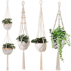 Beige Macrame Rope Plant Hanger Garden Hanging Planter Basket Flower Pot Holder