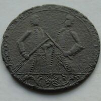 1739 Admiral Vernon & Brown Medal Took Porto Bello with 6 Ships 18thC Bronze