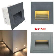 4x LED Wandeinbauleuchte Stufenleuchte Treppenlicht Beleuchtung Grau Lampe Außen