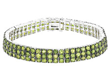 Sterling Silver 3-Row Natural Peridot Green Round cut Tennis Link Bracelet 7.25""