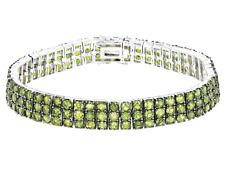 "Peridot Green 3 Row Tennis Link Bracelet Round cut Sterling Silver size 7.25"""