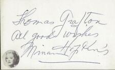 Miriam Hopkins Signed Vintage 3x5 Index Card JSA